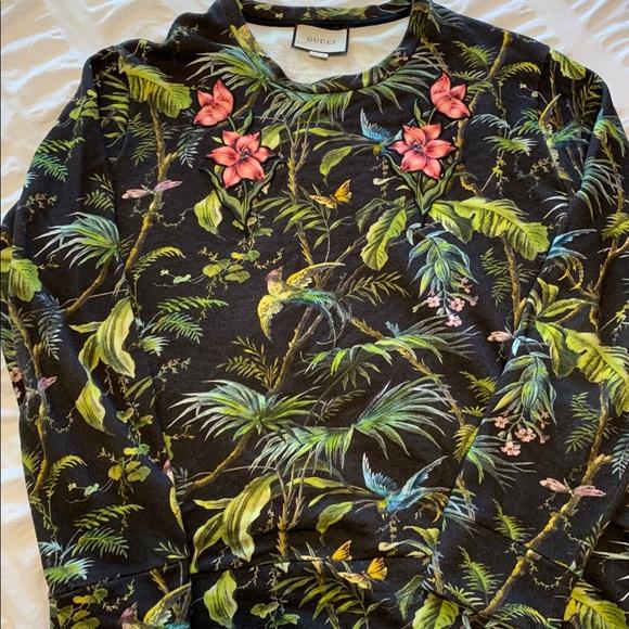 f5792b6cc Gucci Sweaters | M Black Jungle Embroidered Floral Crewneck | Poshmark